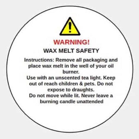 Wax melt Safety Stickers