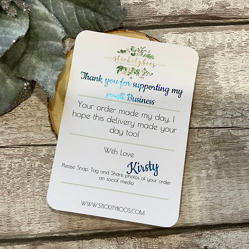 A6 foiled Thank you/Snap & share cards