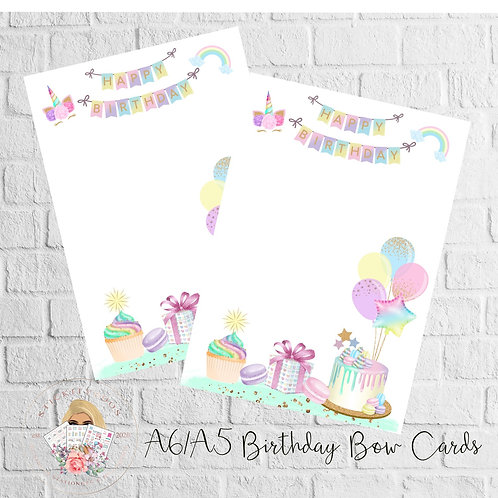 A6 Birthday Bow Backing Cards