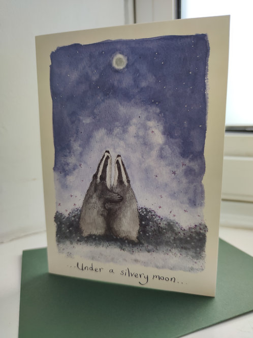Under a Silvery Moon Greeting Card
