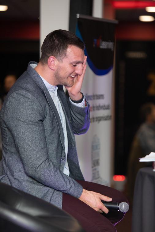 Sam Warburton laughing during evening at