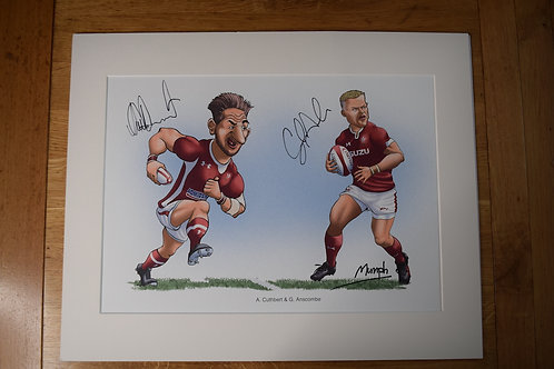Signed Alex Cuthbert & Gareth Anscombe Mumph Cartoon