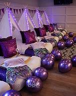 Purple teepee sleepover by Three Little Teepees