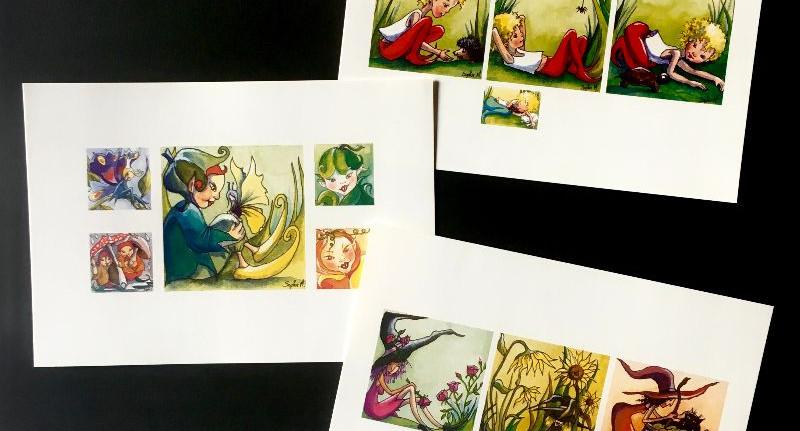 5 cartes Lutins & Sorcières