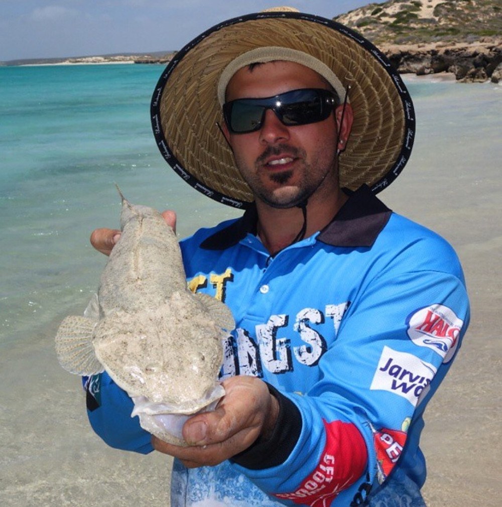 Flathead caught off beach at Shark Bay WA by Jacob Crispe