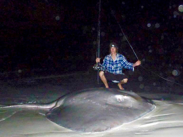 Huge Smooth Ray caught off beach in Albany south-west WA by Aron Dixon