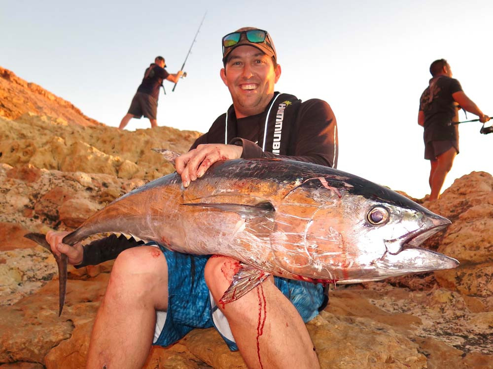 Longtail Tuna off the rocks at Quobba Station