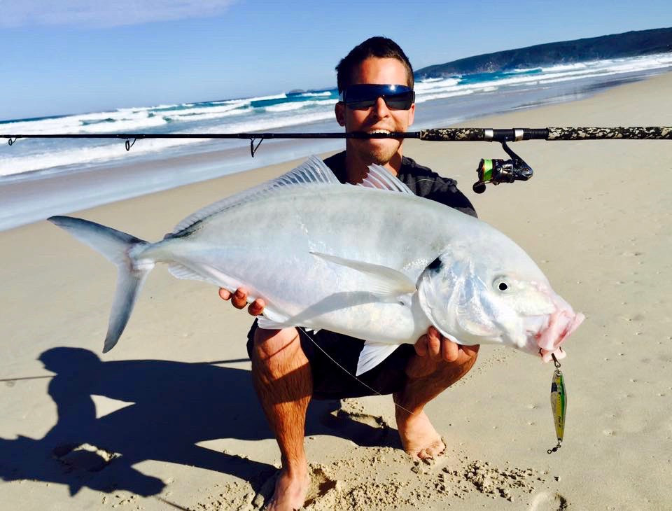 Large Silver Trevally aka Skippy caught off beach in WA south-west by Brett Skipp