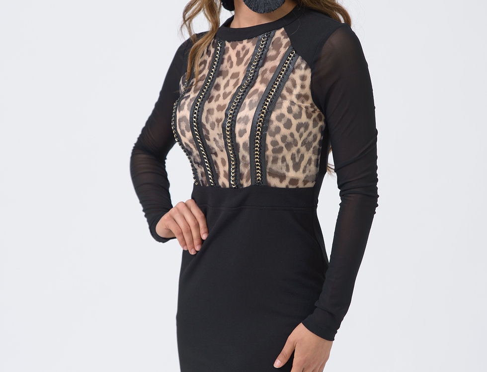 Vestido Corto Negro Animal Print