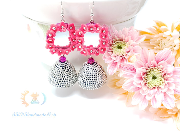Charming Pink Polymer earring with Quilled Jhumka