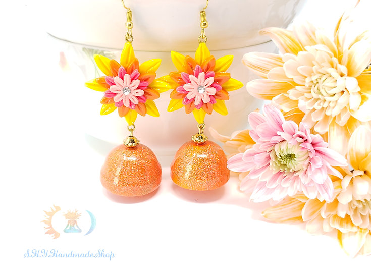 Summer Sensation Polymer earring with Quilled Jhumkas