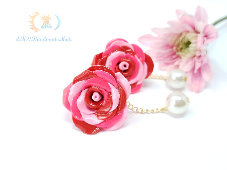 Blushing Rose Polymer Clay earrings