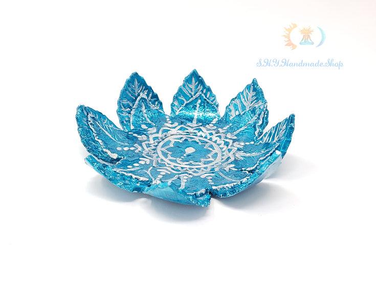 Lotus Tea light holder, Boho Blu tea light holder, Henna design