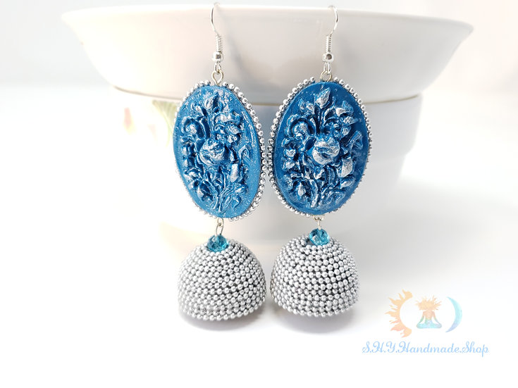 Indo-European love Polymer Quilled Jhumka Earrings