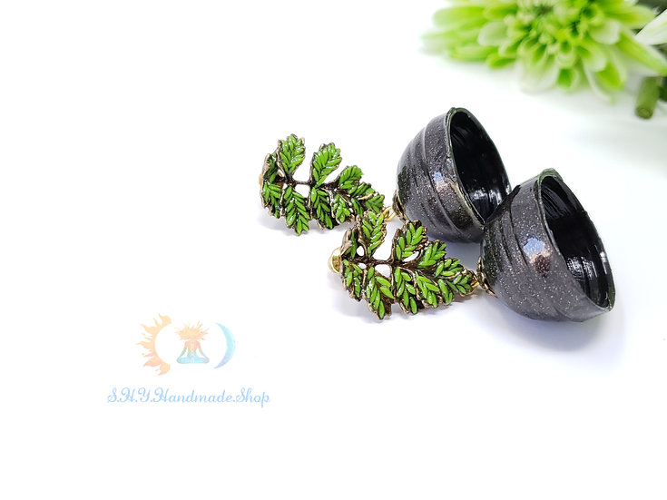 Enchanting Wilderness, Polymer earrings with Quilled jhumka