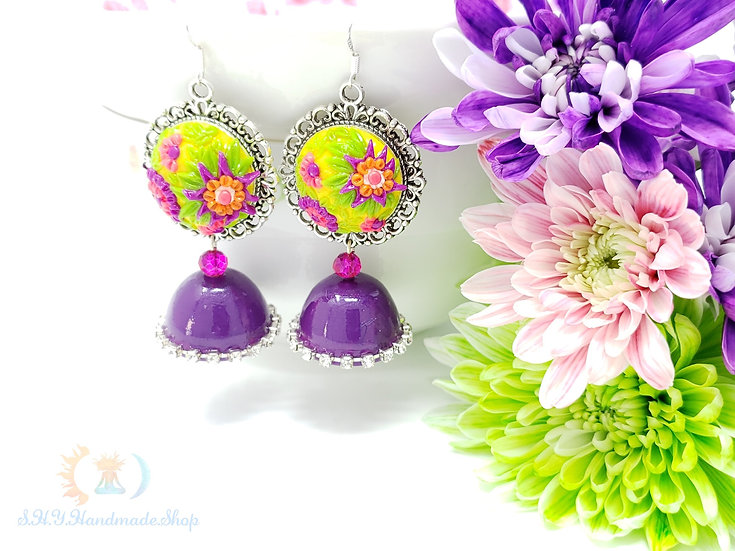 Purple Queen Polymer earrings with Quilled Jumka