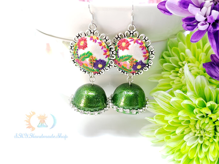The Green enchantress polymer earrings with Quilled jhumkas