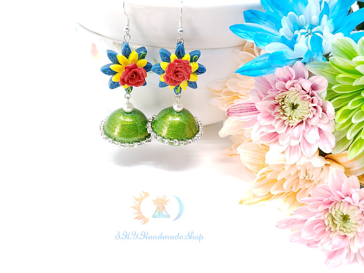 Rose pot Polymer clay earrings with Quilled Jhumkas