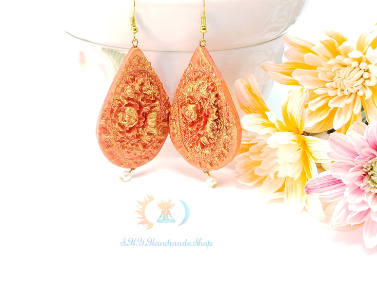 Majestic Queen Polymer clay orange earrings