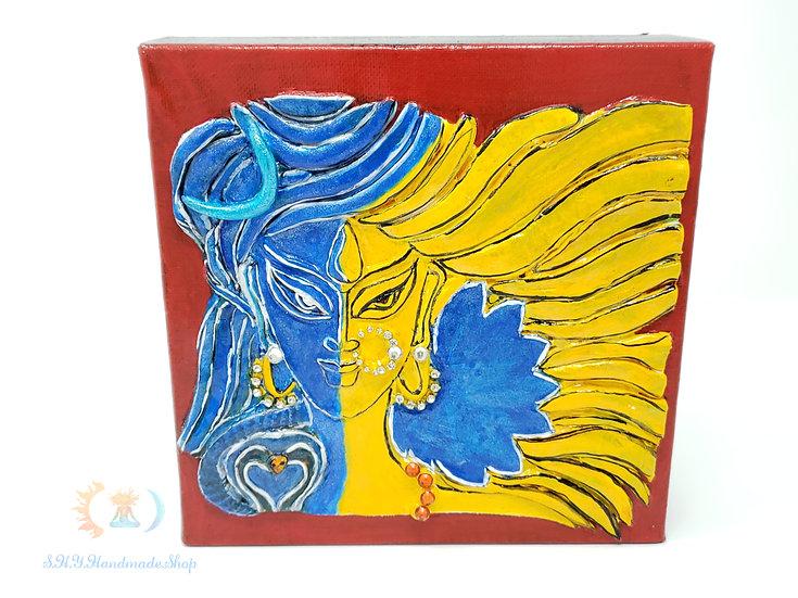 Ardhanaareshwa hand sculpted canvas art, Devi and Shiva, Indian god.