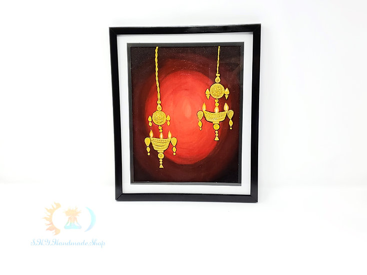 Lamp Luck,Traditional lamp, clay on canvas, canvas art