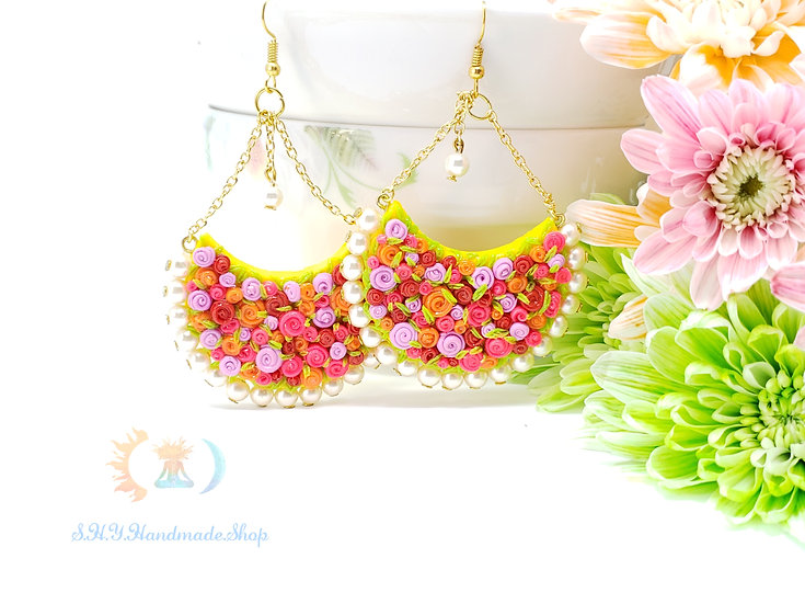 Blooming Joy Polymer clay earrings with 18k gold plated hooks