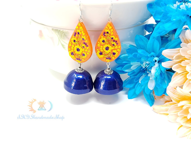 Royal Elegance Polymer and Quilled Jhumka earrings