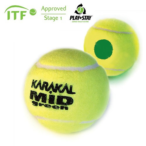 Karakal Mid Mini Green Transition Tennis Balls (pack 12)