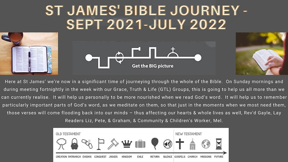 Here at St James' we're now in a significant time of journeying through the whole of the B