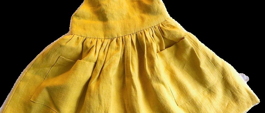 Latzrock Leinen gelb