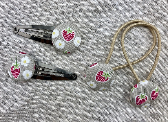 Spangen Erdbeeren und Blüten