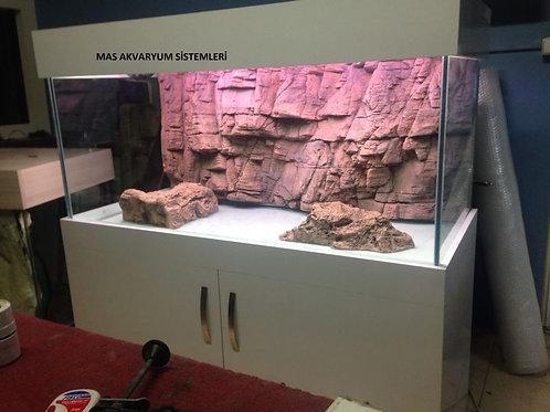 3D 110 cm Taşıyıcılı Akvaryum Demirli
