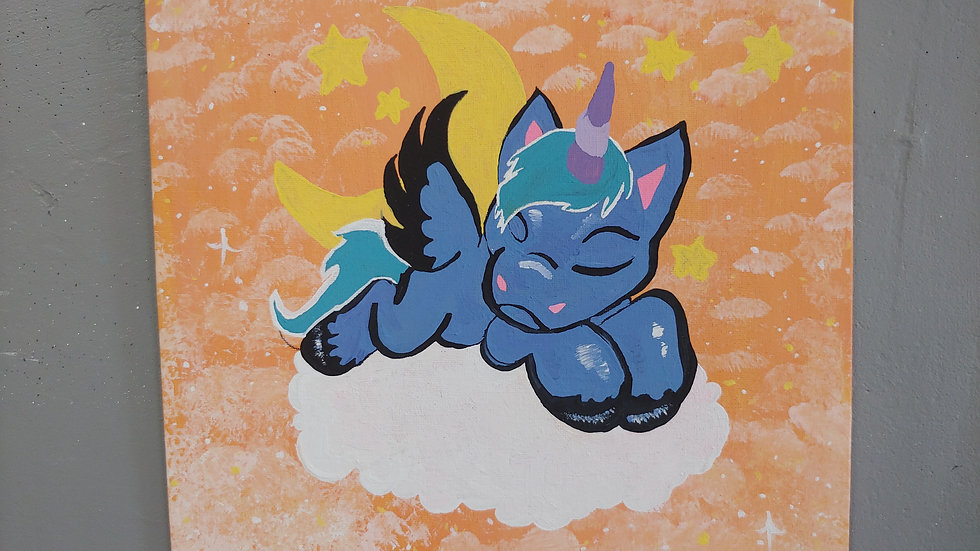 Sleepy Unicorn Canvas