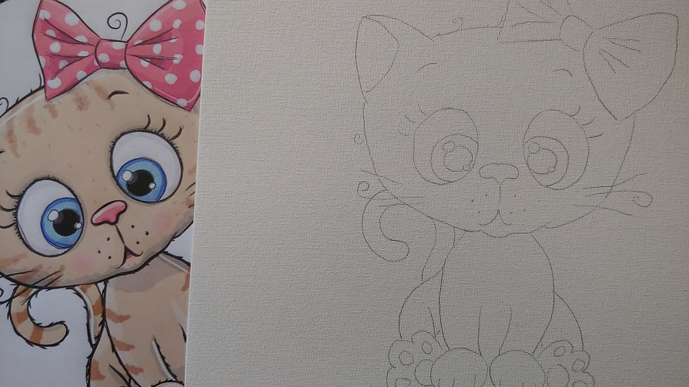 Kitty with Bow Canvas