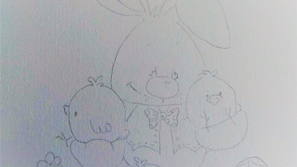 Bunny with Chicks Canvas