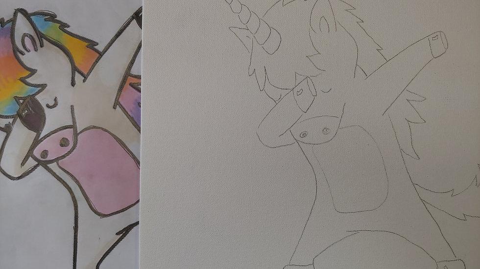 Dabbing Unicorn Canvas