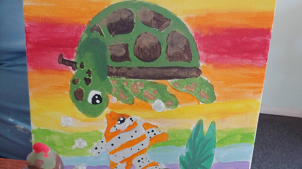 Turtle and Fish Canvas