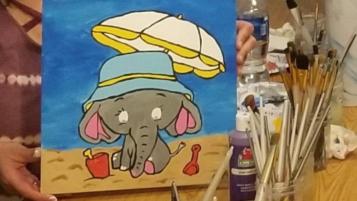 Elephant at the Beach Canvas