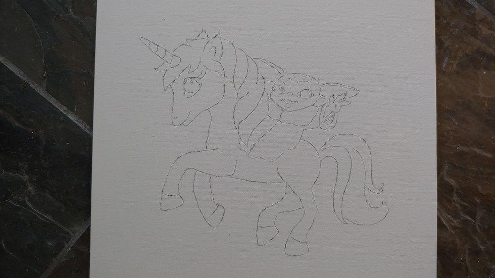 Unicorn and Alien Canvas