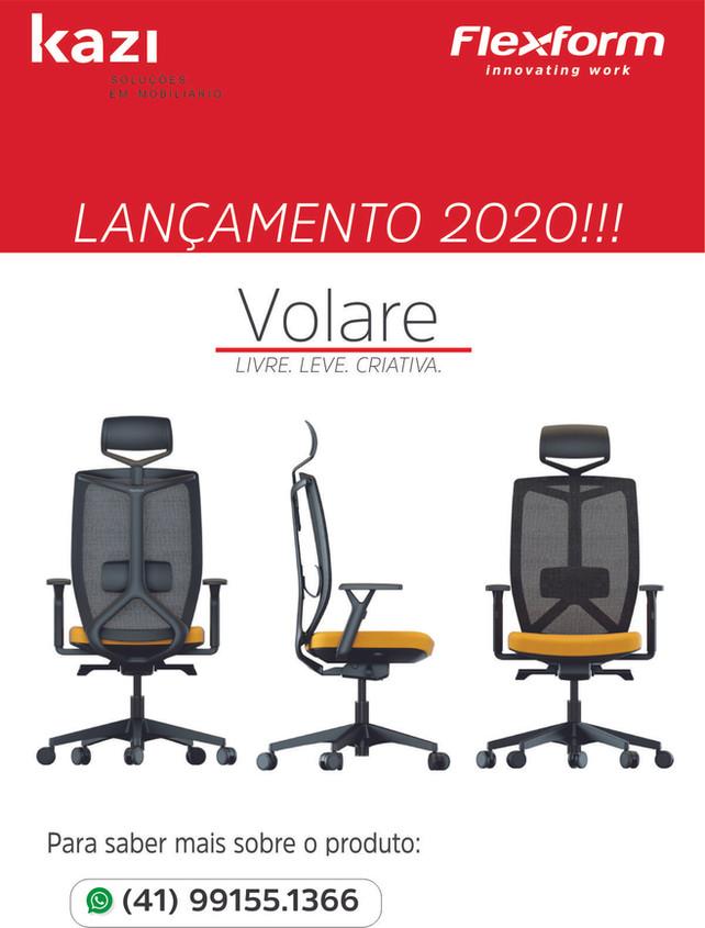 Lançamento 2020! Cadeira giratória VOLARE: Estrutura simples e leve, aliada ao conforto Flexform.