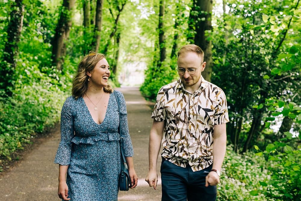 Durham couples shoot romantic trees walking engagement university wedding