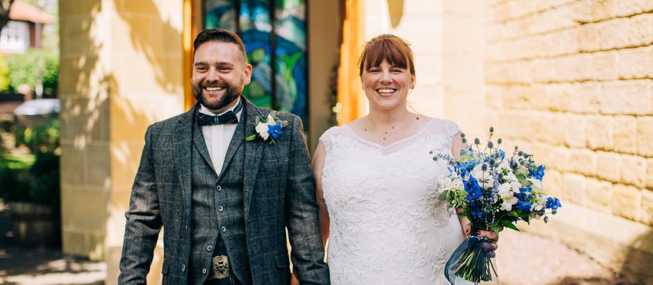 Sam + Barry - a socially distanced seaside wedding, Tynemouth Church wedding, homemade garden party