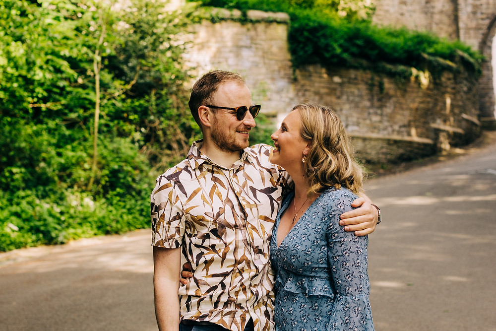 Durham city University wedding engagement shoot sunny prebends bridge