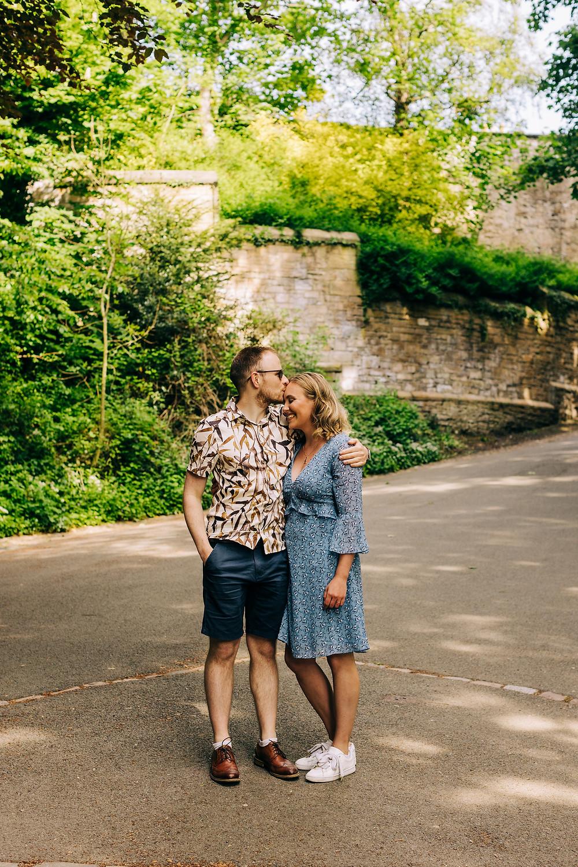 Romantic kiss couples engagement shoot Durham city prebends bridge