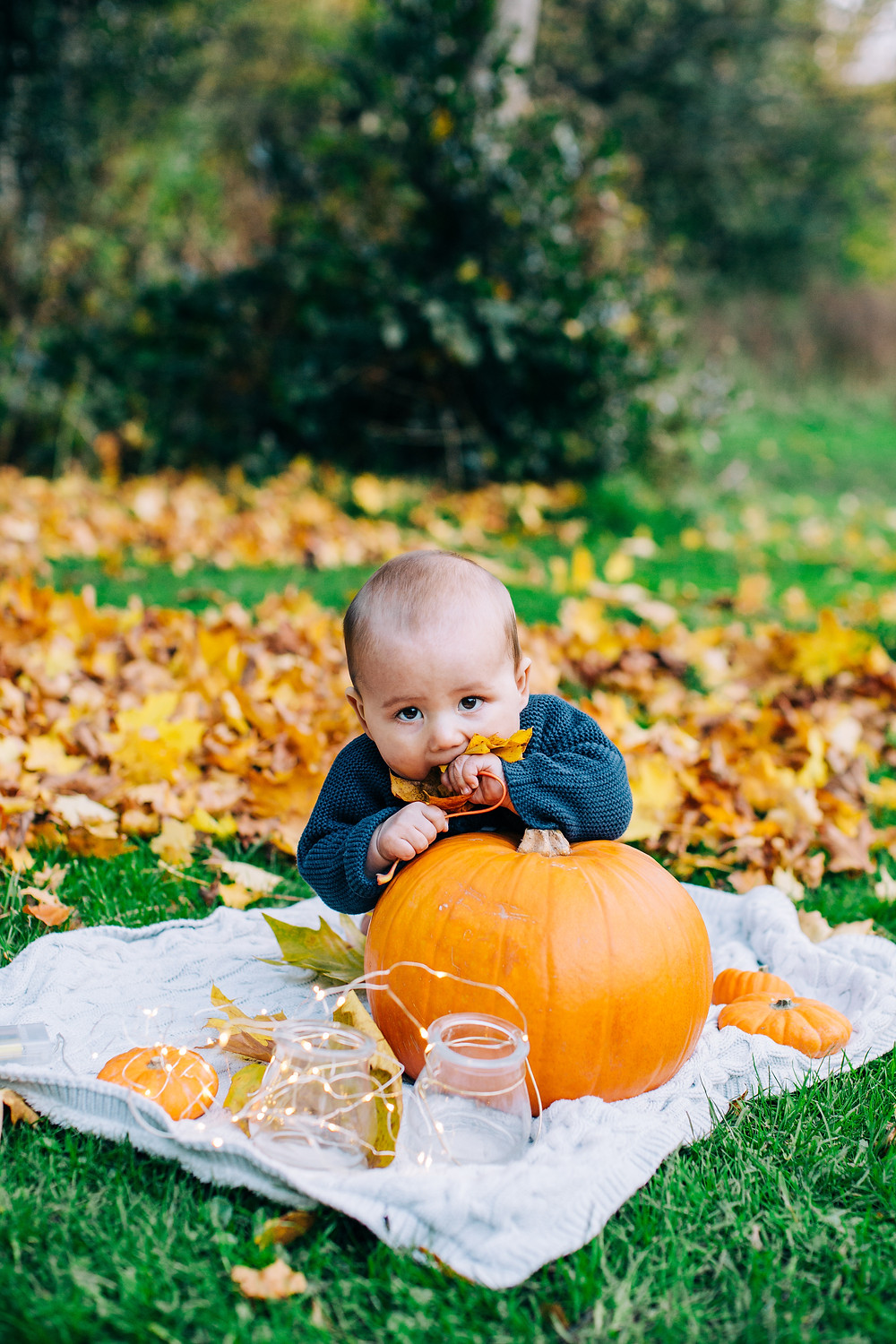 Baby with autumnal leaves sitting on blanket with pumpkin in autumnal Heaton Park, Newcastle