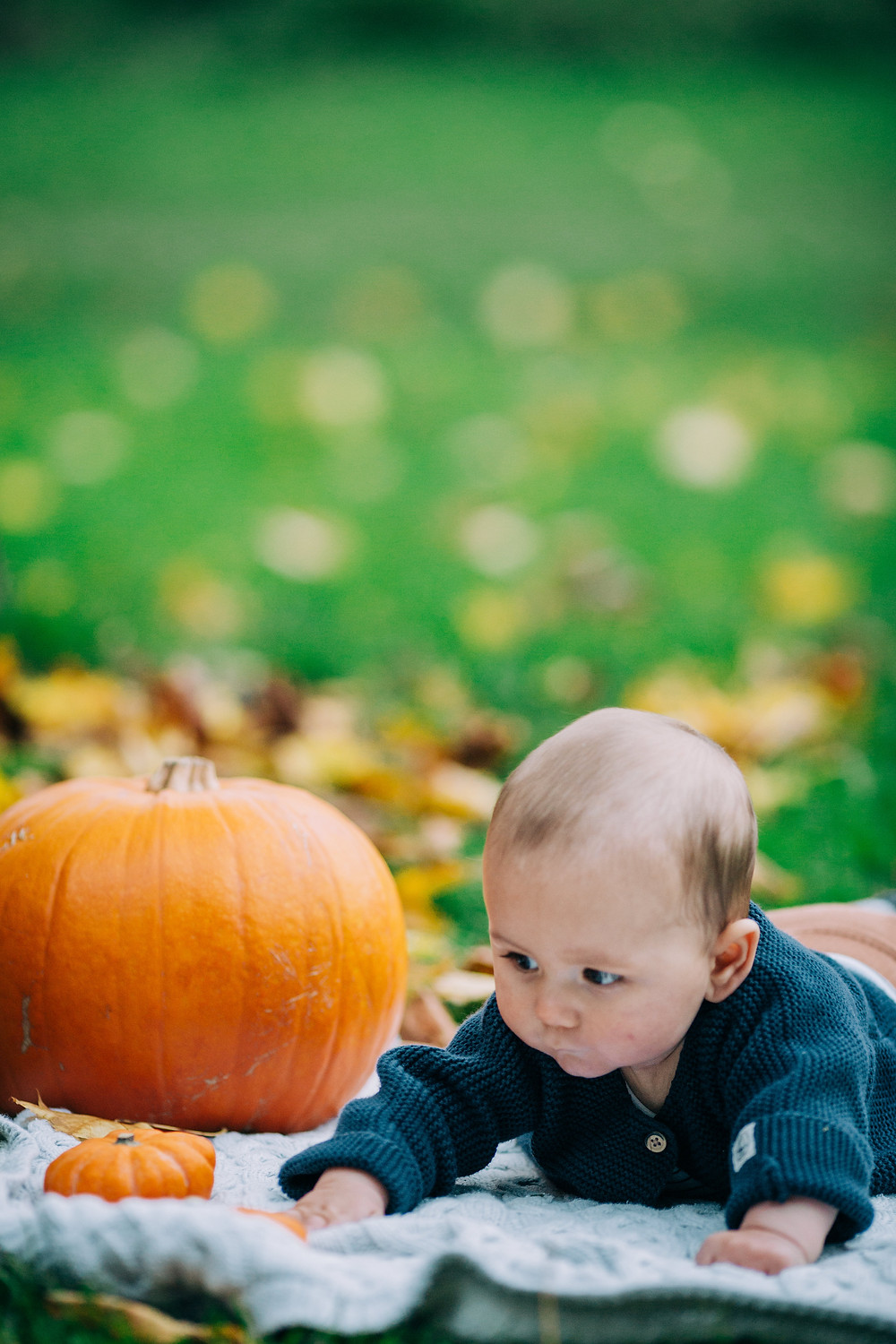 baby playing on blanket surrounded by leafy green autumnal scene and pumpkins, Heaton Park, Newcastle baby and family photographer