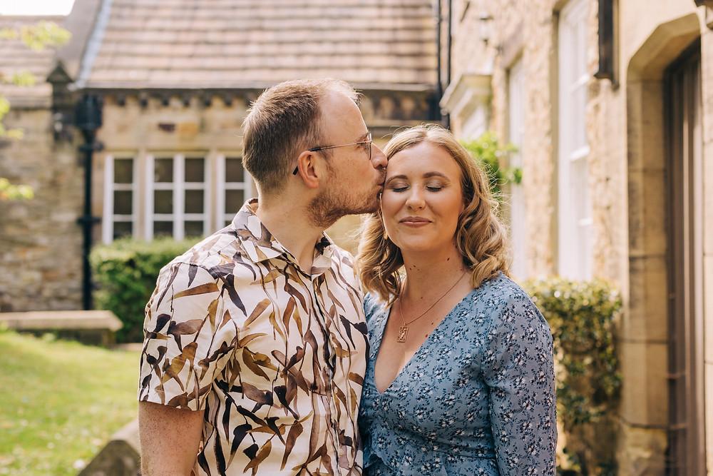 Durham University couples engagement shoot St Chad's romantic head kiss