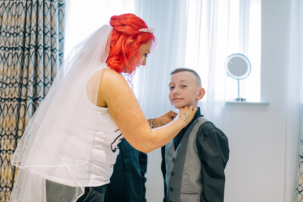 Colourful documentary style snap of bridal family preparation at Holiday Inn Jesmond Newcastle