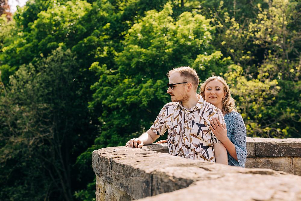 Durham couples engagement shoot prebends bridge sunny day St Chad's wedding