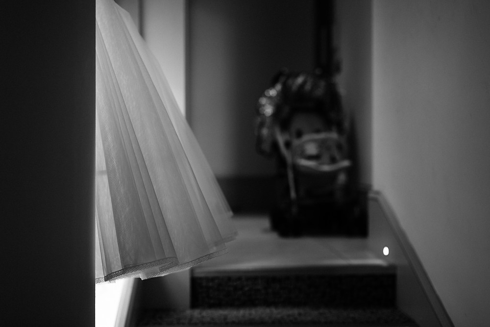 Documentary style detail shot of bride's dress at Newcastle Holiday Inn Jesmond